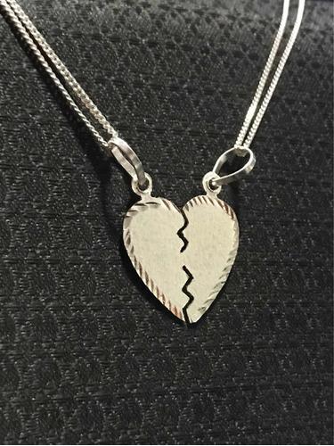 ba8446b983cf Dije Corazón Partido Con 2 Cadenas Plata 925 en venta en Tonala ...