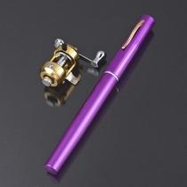 Mini Caña De Pescar Telescopica Portatil Tipo Pluma Violeta