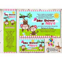 Invitacion Baby Shower Changuitas Gemelas Kit Imprimible