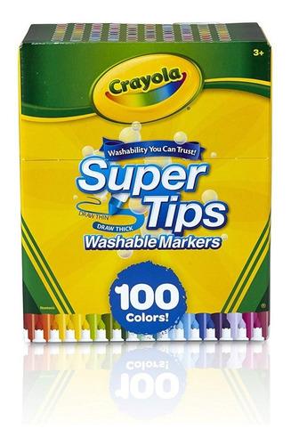 100 Plumones Crayola Marcadores Delgados Lavables Super Tips