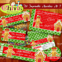Kit Imprimible Navidad No 7 Tarjetas Invitaciones Candy Bar