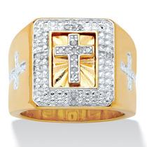 Anillo Cruz C/diamantes 1/10 Ct Oro 14k/plata Hombre T.11