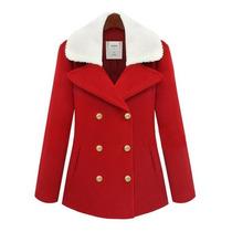 Moda Japonesa Abrigo Corto Rojo Cuello Blanco M Y G Amyglo