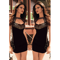 Moda Asiatica Fiesta Sexy Mini Vestido Negro Dorado Regalo