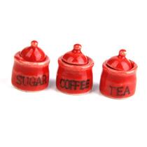 Hermoso Juego Contenedores Miniatura Porcelana Te Azucar Caf