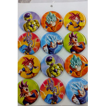 Dragon Ball Z Botones Metalicos 12 Pzas Fiesta Goku Freeser