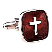 Mancuernillas Cruz Cristiana Sacerdote Padre Camisa Acero