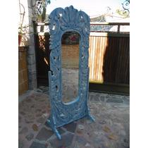 Espejo De Pie Vintage Tallado En Madera Con Decapado Antiguo