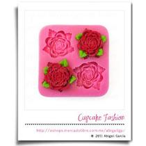 Molde Silicón Rosas Flor Fondant Pasta Flexible Cupcake #760
