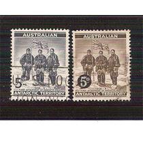 1957 Australia Territorio Antártico 2 Sellos Usados