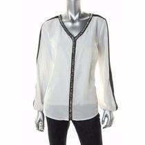 Blusa Blanca Con Negra Chifon Marca Dex