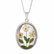 Collar Y Dije De Plata Flores Blancas Naturales