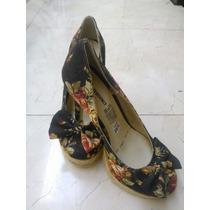#1 Zapatillas Floreadas Talla 3.5 Tela Dama Sandalia Calzado