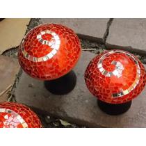 Trio De Hongos De Vitromosaico Rojos (tamaño Mediano)