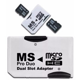 Adaptador Ms Pro Duo Doble Memoria Micro Sd Hc Psp Sony /e