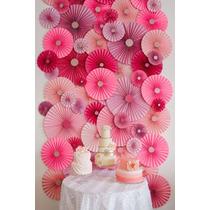 Paquete 10 Rosetas Decorativas De Papel, Varios Colores