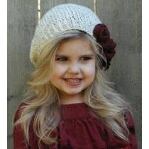 Gorro Niña Estambre, Crochet Rosas Rojas Importado!!!