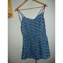 Blusa Short Jumpsuit Forever 21 Mezclilla Con Estampado
