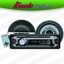 Paquete Autoestereo Cd Usb Mp3 Bluetooth Bocinas 6.5 Control