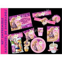 Kit Imprimible Rapunzel De Enredados Tangled Rosado Tarjetas