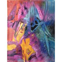 Pintura Abstracta Al Óleo: Montaña Encantada