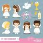 Kit Imprimible Comunion Nena Imagenes Clipart