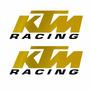 Sticker - Calcomania - Vinil - Logo Ktm Racing Cromo Dorado