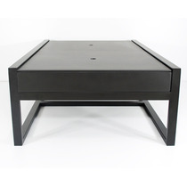 Mesa De Centro Acero Madera Diseño Moderno Minimalista Negro