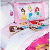 Set De Sábanas Princesas Hd Individual + Funda Decorativa