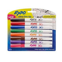 Expo De Bajo Olor Dry Erase Markers, Ultra-fine Tip, 8-pack,