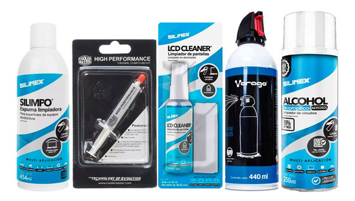 Kit 5 En 1 Limpieza Pc Espuma Spray Aire Comprimido Pasta