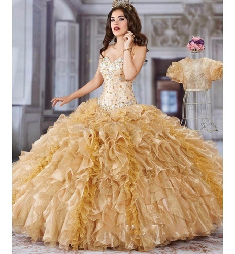 Vestido Xv Años Dorado Confeccionado Por Diseñadoraoferta