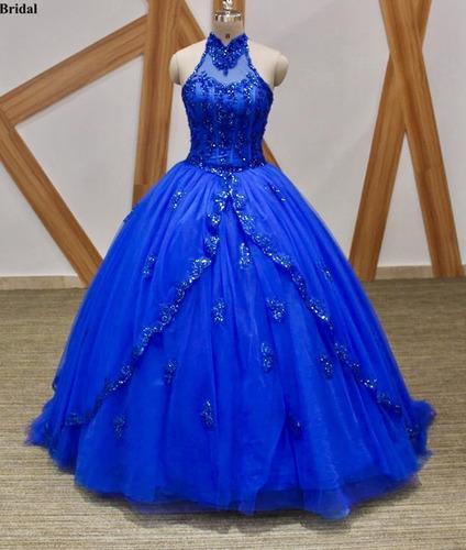 cf3dc3e4b9 Vestido De Xv 15 Años Azul Rey Escote Halter Importado en venta en ...