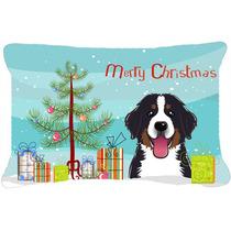 Árbol De Navidad Y Perro De Montaña De Tela Almohada Decor