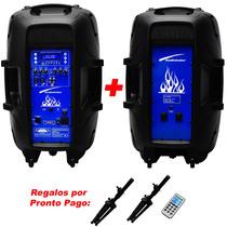 Set De Audio Audiobahn 2 Bafles Leds Usb Sd Bluetooth Xaris.