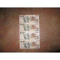 Lote De 4 Billetes De 2000 Pesos Con Justo Sierra