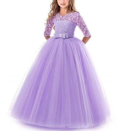 Vestido 4 A 14 Años De Niñas Color Lila Fiesta Marca Nnjxd