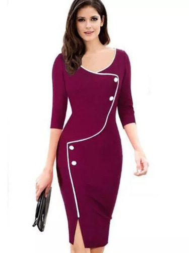 Vestido Color Uva Elegante Ejecutivo De Importacion En Venta