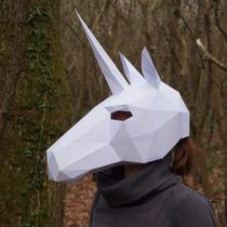 Máscara De Papel 3d De Unicornio Para Hallowen O Fiesta