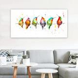 Cuadro Pájaros Acuarela Color Moderno En Lienzo Canvas
