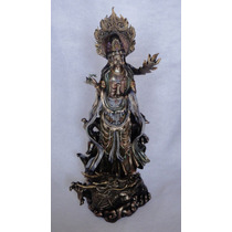 Escultura Kuan Yin Sobre Dragón Figura Diosa Del Amor