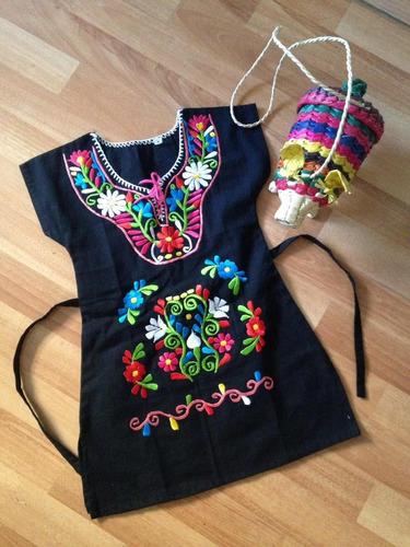 Vestido Niña Bordado Mexicano Kimona Tradicional En Venta En
