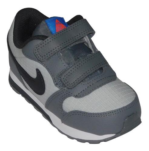 Tenis Nike Bebe Gris Negro Md Runner 2 Para Niños 806255