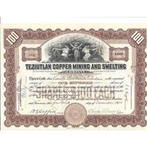 Acción De Teziutlán Copper Mining And Smelting Company 1921