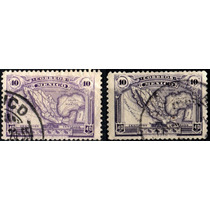 2110 México Mapa S #626 Dif Violeta (2) 40c Usados 1917-20