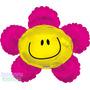 6 Globos Metalico 14 Pulg Cara Flor Rosa P/ Arreglo D Mesa