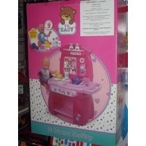 Cocina Y Muñeca Kiky Baby Con 9 Accesorios