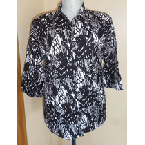 East 5th Blusa Bicolor Talla 2x Tela Lino / Rayon