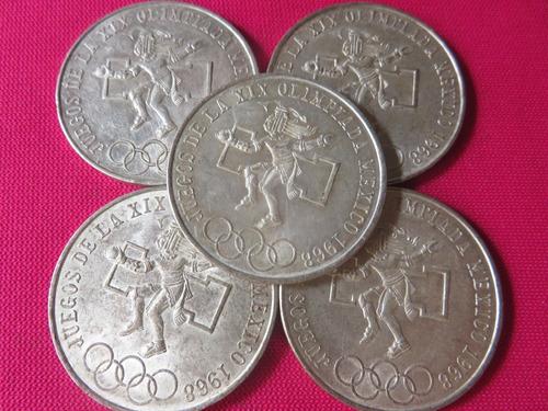 Moneda 25 Pesos Olimpica 1968 Lote De 5 Piezas