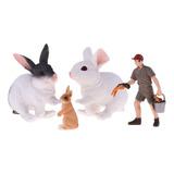 Figuras De Animales De Granja Con Ranchero Y Conejos, Regalo
